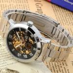 นาฬิกาข้อมือ โชว์กลไก Mechanical watch นาฬิกาข้อมือผู้ชาย สาย Stainless Steel หน้าปัดสีดำ กลไลสีทอง เรียบหรู ลายก้างปลา ของขวัญให้แฟน 673953_1