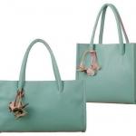 กระเป๋าถือผู้หญิง กระเป๋าหนัง สีฟ้า sky blue ห้อยดอกไม้ ดีไซน์ สไตล์ วินเทจ แบบ คลาสสิค กระเป๋าใส่ของไปเรียน ไปเที่ยว ปิคนิก 882629_8