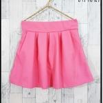 skirt291 กางเกงกระโปรง กระเป๋าข้าง ผ้าหนาเนื้อดี สีพื้นชมพูนม