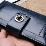 กระเป๋าสตางค์ผู้หญิง ใบยาว กระเป๋าสตางค์หนังวัวแท้ ลง oil wax ยิ่งใช้ ยิ่งสวย รุ่น ที่ปิดแบบ หมุน ใส่บัตรได้เยอะ สีดำ สีน้ำเงิน สีน้ำตาล 751311