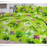 5 ฟุต 3 ชิ้น ชุดเครื่องนอน ผ้าปูที่นอน สีเขียวลายดอกไม้ F001