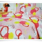 ชุดผ้าปูเตียง ผ้าปูที่นอน Cotton 6 ฟุต 3 ชิ้น ชมพูอ่อน ลายวงกลม B026