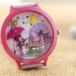 นาฬิกาข้อมือ Diy นาฬิกาข้อมือผู้หญิง สายหนัง แต่ง Display 3 มิติ ลาย สาวญี่ปุ่น กางร่ม ในเมืองหลวง นาฬิกาแฟชั่น แต่งไอคอน น่ารัก ๆ 114207