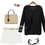 เสื้อผู้หญิง แขนยาว แบบ มีดีไซน์ ผ้า Cotton แต่งระบาย ด้วยผ้าซีฟอง เสื้อยืด แบบเก๋ ๆ สีดำ เสื้อคอวี แฟชั่นจากยุโรป 4610355_2