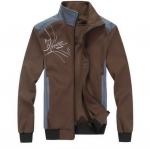 แจ็คเก็ต แนว Sprot สีน้ำตาล คลาสสิค แต่งคอสีฟ้า เสื้อผู้ชายแขนยาว เสื้อคลุม ใส่เล่นกีฬา Jacket ใส่เข้ายิม แบบ เท่ ๆ ซิปหน้า 864901_2
