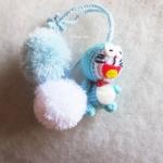 ที่ห้อยกระเป๋า พวงกุญแจตุ๊กตาโดเรม่อน dolls pom pom amigurumi crochet keychain