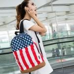 กระเป๋าเป้ กระเป๋าสะพายหลัง นำเข้า ผ้ายีนส์ ผ้าแคนวาส ลาย ธงชาติอเมริกา no 591670_1