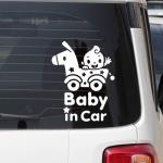 BABY IN CAR STICKER- สติกเกอร์ตกแต่งรถยนต์ Baby in car ลายเด็กนั่งในรถเข็นม้าไม้