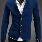 เสื้อสูท ผู้ชาย เสื้อ Jacket นอก แขนยาว ผ้า Cotton กระดุมหน้า สีน้ำเงิน มีกระเป๋า หน้า หลายจุด เสื้อคลุม คอปก ดีไซน์ เก๋ 278521