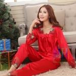 ชุดนอนผ้าลื่น แบบ เสื้อกางเกง เสื้อนอนแขนยาว พร้อมกางเกงเข้าชุด ชุดนอนผ้าไหม ผ้าแพร สีแดงสด สาวหมวย ชุดนอน คุณนาย ไฮโซ 216479_2