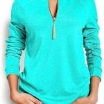 เสื้อยืดผู้หญิง แขนยาว สีฟ้าอมเขียว น้ำทะเล เสื้อยืดแฟชั่น ผู้หญิง คอซิป ปรับความลึกได้ แต่งพู่ ตรงไหล่ แขนจั้ม แฟชั่น ดีไซน์ จาก ยุโรป 5008465_2