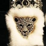 เคส iphone 5 5s ขนมิ้ง เคสขนเฟอร์ ประดับ คริสตัลรูป เสือดาว Leopard ขนเฟอร์สีขาว no 84274_5