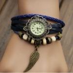 นาฬิกาข้อมือ ผู้หญิง สายหนังถัก สไตล์สร้อยข้อมือ วินเทจ สีน้ำเงิน ห้อย จี้รูป ปีกนก สวยเก๋ ราคาถูก no 9798247_1