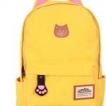 กระเป๋าสะพายหลัง กระเป๋าเป้ ผ้า canvas หรือ ผ้ายีนส์ กระเป๋าใส่หนังสือ ไปเรียนได้ แฟชั่น ญี่ปุ่น หูแมว น่ารักสุด ๆ สีเหลือง no 4833060_6