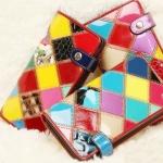 กระเป๋าสตางค์ ใบยาว ผู้หญิง กระเป๋าสตางค์ ใส่บัตร มี 3 slot กระเป๋าหนังแท้ ดีไซน์ หนัง ลายสี สลับกัน แต่งด้วย ตะเข็บ น้ำตาล สุดหรู 646834