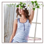 Victoria's Secret / The Fireside Henley Tank (Size S /#Blue Space Dye Thermal)