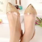 รองเท้าคัทชู ใส่ทำงาน รองเท้าหุ้มส้น รองเท้าผู้หญิง แฟชั่น ดีไซน์ แบบไม่มีส้น หัวแหลม โชว์กากเพชร สีเงิน ดำ ทอง สวยหรู ใส่ออกงาน 480314