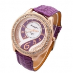 นาฬิกาข้อมือผู้หญิง สายหนัง สีม่วง เพิ่มความหรูหรา ด้วย คริสตัล เพชร ล้อมหน้าปัด ดีไซน์ เพชรด้านใน สวยหรู 44728_3