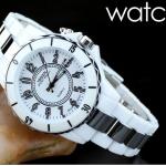 นาฬิกาข้อมือผู้หญิง สาย Stainless Steel กันน้ำได้ สีขาว หน้าปัดเรืองแสงได้ no 216203