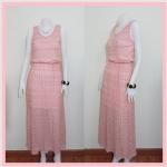 **สินค้าหมด dress2212 แม็กซี่เดรส/เดรสยาวแฟชั่น แขนกุด เอวยืด มีซับใน ผ้าลูกไม้ยืดเนื้อนิ่มสีชมพู