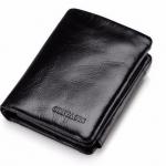 กระเป๋าสตางค์ผู้ชาย หนังวัวแท้ สีดำ กระเป๋าสตางค์ ใบสั้น oil wax สีดำ สุดหรู มีช่องใส่บัตรเยอะ กางออกเป็น 3 พับ ดีไซน์ สวยสุด ๆ 891050