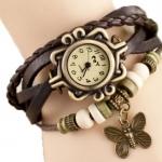 นาฬิกาข้อมือผู้หญิง นาฬิกา สายหนังถัก แบบสร้อยข้อมือ ห้อยจี้ ตัวผีเสื้อ สีน้ำตาล คลาสสิค สไตล์วินเทจ ของขวัญ ให้แฟน น่ารัก 970434_5