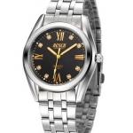 นาฬิกาข้อมือ ผู้ชาย สาย Stainless steel สไตล์ นักธุรกิจ ผู้บริหาร ดีไซน์ ฝังเพชรด้านใน หน้าปัดเรืองแสง ดูตอนมืดได้ ของขวัญให้แฟน สุดหรู 596796
