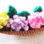 กระถางเรือดอกไม้ถัก mini boat flowers basket crochet