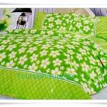 3.5 ฟุต 3 ชิ้น ชุดเครื่องนอน ผ้าปูที่นอน สีเขียวลายดอกไม้ P001