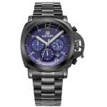 นาฬิกาข้อมือ ผู้ชาย สาย Stainless มีระบบ วันที่ สายสีดำ แบบเท่ ๆ หน้าปัดสีน้ำเงิน ของขวัญให้แฟน สุดหรู ระบบ Quartz จากญี่ปุ่น 504854_2