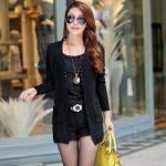 เสื้อคลุมแขนยาว เสื้อ Jacket ผู้หญิง ถักนิตติ้ง แบบ คลุมยาว ลายตาราง สี่เหลี่ยม เสื้อคลุม สีดำ แขนยาว ไหมพรม ใส่ทำงานเก๋ ๆ 97799_1