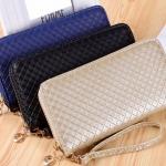 กระเป๋าสตางค์ผู้หญิง ทรงยาว กระเป๋าสตางค์ซิปรอบ หนังนิ่ม ลายตาราง กระเป๋าสตางค์เรียบ ๆ สีน้ำเงิน ดำ ทอง 510575