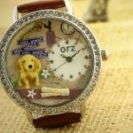 นาฬิกาข้อมือ Diy นาฬิกาข้อมือผู้หญิง สายหนัง สีน้ำตาล แต่ง Display ด้านใน เป็น รูปสุนัข น่ารักสุด ๆ เหมือน เลี้ยงสุนัข ไว้ในนาฬิกา นาฬิกาแบบน่ารัก 215933