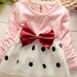 ชุดกระโปรงเด็กผู้หญิง อายุ 6 - 24 เดือน เดรสเด็กผู้หญิง เสื้อยืด สีชมพูอ่อน กระโปรง ระบายสีขาว ลายจุด ติดโบว์ เดรสคุณหนู ใส่เที่ยว 209799_1