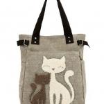 กระเป๋าสำหรับคนรักแมว กระเป๋าถือ ผ้า Canvas อย่างดี ดีไซน์ รูปแมวคู่ น่ารักสุด ๆ กระเป๋าสะพายข้าง ผู้หญิง ลายแมว สีน้ำตาลกากี 107424