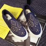 รองเท้าผ้าใบ ผู้หญิง รองเท้าหุ้มส้น แบบสวม แบบไม่มีเชือก รองเท้าผ้าใบสีน้ำเงิน สียีนส์ ใส่สบาย ดีไซน์ ปักหมุดสีทอง ลายไทย รองเท้าใส่เที่ยว 259984_2