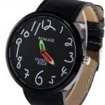 นาฬิกาข้อมือ ผู้หญิง ผู้ชาย ใส่ได้ สายหนัง ลายกราฟฟิค Paint รูปดินสอ ลายการ์ตูน ตัวเลขน่ารัก สีดำ no 824387