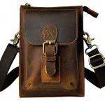 กระเป๋าคาดเอว กระเป๋าหนังวัวแท้ Oil wax สีน้ำตาล สีดำ กระเป๋าคาดเข็มขัด วินเทจ แบบคลาสสิค ใส่ iphone ได้ 357756