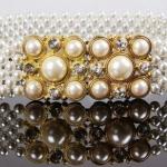 เข็มขัด ไข่มุก rhinestone elastic เข็มขัดผู้หญิง ใส่กับ ชุดเดรส ดีไซน์ เป็น ไข่มุก เรียงเส้น สีขาวเป็นประกาย ใส่กับ ชุดเดรส ออกงาน หรู 815201