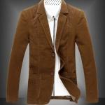 เสื้อสูท ผู้ชาย เสื้อ Jacket นอก แขนยาว ผ้า 2 ชั้น เสื้อนอก คอปก ออกแบบ ปกลูกฟูก มีกระเป๋าด้านใน สีน้ำตาลเข้ม เสื้อคลุม ผู้บริหาร 83054_2