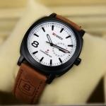 นาฬิกาข้อมือ ผู้ชาย สายหนัง แนว Sport นาฬิกาข้อมือสายหนังแท้ สีน้ำตาล หน้าปัดสีขาว ของขวัญให้แฟน เรียบหรู มีสไตล์ no 42466