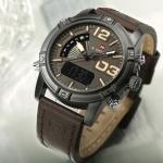 นาฬิกาข้อมือ ผู้ชาย นาฬิกาสายหนัง นวัตกรรมใหม๋ หน้าปัด ดิจิตอล และ แบบเข็ม ในเรือนเดียว มีระบบเรืองแสง 719084
