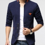 เสื้อสูท ผู้ชาย เสื้อ Jacket นอก แบบ Slim fit เข้ารูป สีน้ำเงิน กรมท่า แขนยาว ดีไซน์ ลาย ด้วยหนัง เพิ่มความ หรูหรา คลาสสิค มีกระเป๋าด้านใน แบบสวย 322297_2