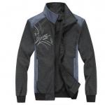 แจ็คเก็ต แนว Sprot สีเทา แต่งคอสีฟ้า เสื้อผู้ชายแขนยาว เสื้อคลุม ใส่เล่นกีฬา Jacket ใส่เข้ายิม แบบ เท่ ๆ ซิปหน้า เสื้อคลุม แขนยาว 864901_1