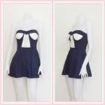 **สินค้าหมด dress2265 เดรสแฟชั่นเกาะอกเสริมฟองน้ำ ผ้าสกินนี่(ยืดได้เยอะ) สีกรมท่า