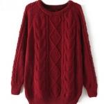 เสื้อกันหนาว เสื้อไหมพรม สีแดง เลือดหมู แดงเข้ม ถักลาย แบบสวย เสื้อคลุมกันหนาว ถัก นิตติ้ง แขนยาว ใส่เรียน ใส่ไปเที่ยวต่างประเทศ เก๋ ๆ 273557