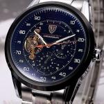 นาฬิกาโชว์กลไก นาฬิกาข้อมือเปลือย นาฬิกาข้อมือผู้ชาย สาย สแตนเลส แท้ หน้าปัด Chronograph แนว Sport กันน้ำ หน้าปัดดำ 827802_1