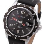 นาฬิกาข้อมือผู้ชาย สายหนังสีดำสลับน้ำตาล เหมาะสำหรับหนุ่มมาดเข้ม ขอบหน้าปัดสีโกโก้ ด้านในสีดำ พร้อมระบบวันที่ เรียบหรู ราคาถูก no 436404_2