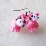 ต่างหูถักโครเชต์ รูปแมว earrings crochet