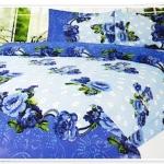 5 ฟุต 3 ชิ้น ชุดเครื่องนอน ผ้าปูที่นอน สีฟ้าเข้มดอกไม้ b007